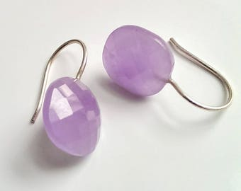 Earrings jade, purple