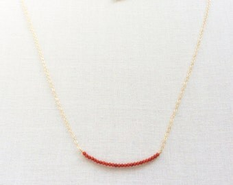 Red Coral Necklace - Coral Necklace - Tiny Coral Necklace - Gold Coral Necklace - Coral jewelry - Red Coral -  Red Coral Bead Necklace