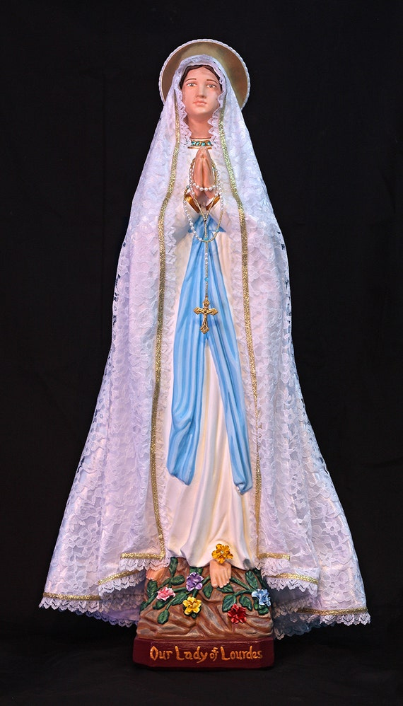 "Our Lady of Lourdes 26"" Mary Catholic Christian Saints Plaster Religious Statue"