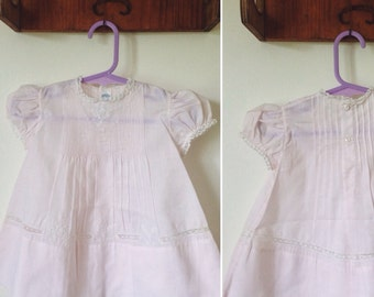 Vintage 70s // HAND EMBROIDERED PINTUCK Dress // Pale Pink Baby Girl Summer Dress // Formal Flowergirl Dress // Size 0