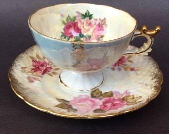 Vintage Porcelain Tea Cup with Mismached Saucer/ Oyster Shell Finish Tea cup with Saucer/ Rose Motif Tea cup with Saucer/ Gold Trimmed