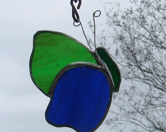 Handmade Blue and Green Stained Glass Butterfly Sun Catcher Ornament