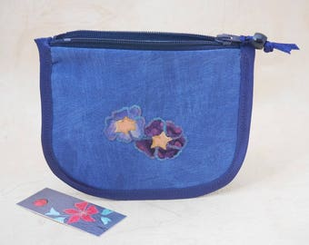 Fabric coin purse, small zipped purse or pouch, appliqued detail, made from upcycled fabric, personalisation option, made in UK, gift idea