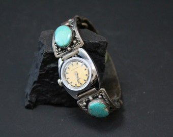 Vintage Sterling Silver and Turquoise Native American Navajo Watch Tips with Leather Strap