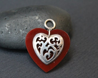 Valentine's Day Sterling Silver Filigree Layered Carnelian Heart Pendant