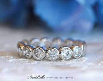 4.0mm Eternity Ring-Brilliant Cut Diamond Simulants-Engagement Band Ring-Bridal Ring-Promise Ring-Stacking Ring-Solid Sterling Silver [427]