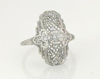 Antique Estate .10ct Genuine Diamond 14K White Gold Filigree Art Deco Ring 3.2g