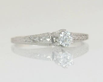 Antique .10ct Genuine Diamond 14K White Gold Art Deco Solitaire Engagement Ring