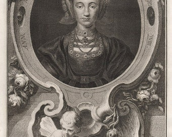 Ann of Cleves, Queen of Henry VIII, portrait engraving