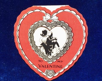 1920's Scottish Terrier Antique Bicycle Silhouette Valentine Paper Heart