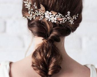 20% OFF-Bridal Headpiece, Bridal Hair Vine , Bridal Pearl Headpiece, Wedding Wreath, Wedding Headpiece, Gold Leaves,Wedding Hair Accessories