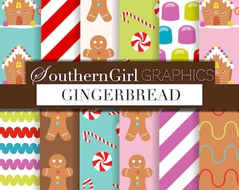"Gingerbread digital paper - ""GINGERBREAD"" with pink, green, blue gingerbread house, gingerbread man, gumdrop, Christmas candy designs"