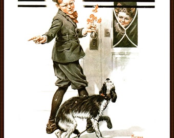 A Dog's Day painted by Norman Rockwell, a Post Cover from 1920. The page is approx. 11 1/2 inches wide and 15 inches tall.