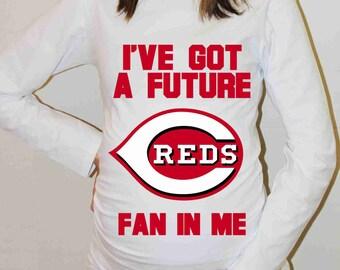 Cincinnati Reds Shirt Cincinnati Reds Baseball Long Sleeve Maternity Shirt Pregnancy Baby Shower