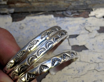 Set of 3 Thick Sterling Cuffs- Hand Stamped Sterling Silver Stacker Cuffs