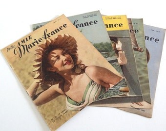 5 French Vintage Fashion Magazines MARIE FRANCE from 1947 (no 140-144) - Mid Century Magazines