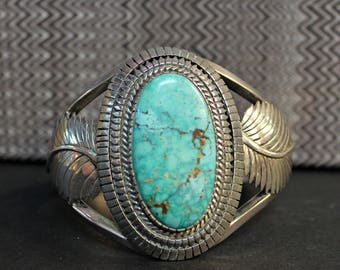 Eddy Chaco Authentic Signed  Navajo Turquoise and Sterling Bangle 73.3g - SS10163