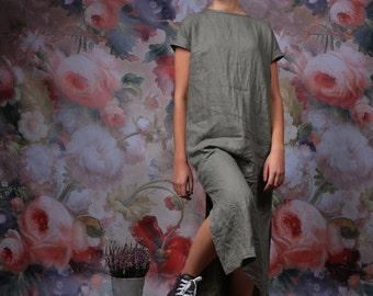 Long linen dress / Linen dress /  plus size linen dress / linen kaftan / summer dress / women linen clothing
