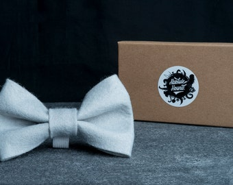 Dog Bowtie - Collar accessories - Handmade felt bow tie - idea gift for dogs and puppies - Grey