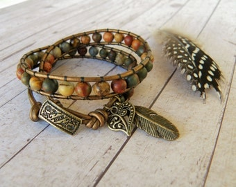 Picasso Jasper Agate Beaded Leather Double Wrap Bracelet