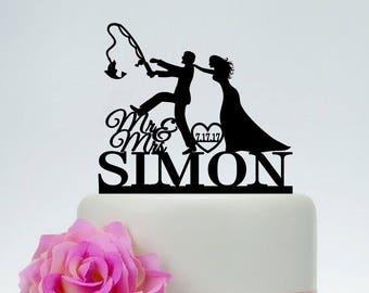 Fishing Cake Topper,Funny Cake Topper, Custom Cake Topper,Mr and Mrs Cake Topper, Fishing Themed Wedding, Outdoor Wedding C198