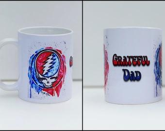 Grateful Dad Mug, Coffee Mug, Steal Your Face, Grateful Dead Art, Father's Day Gift, Grateful Dead Decor, Deadhead, Grateful Dad