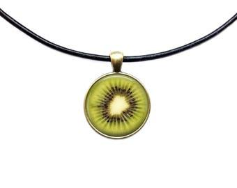 Kiwi pendant Berry necklace Fruit jewelry