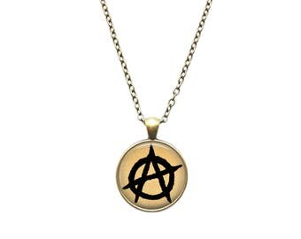 Anarchy pendant Antique jewelry Symbol necklace