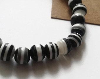 Black and white striped elasticated bracelet