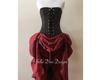 Custom Handmade to order Victorian Bustle Skirt, Steampunk Skirt, Renaissance Skirt, Pirate Skirt.