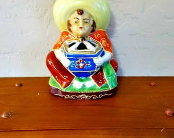 Vintage Incense Burner Mexican Man with Sombrero Occupied Japan Beaded Nippon Moriage
