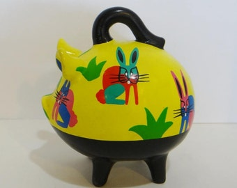 Reserved for A M SALE Vintage Mexico Pottery Piggy Bank w Rabbits Yellow Black Signed Large w/ Handle