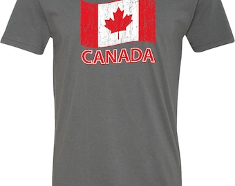 Men's Distressed Canada Flag V-Neck Shirt CANADA-N3200