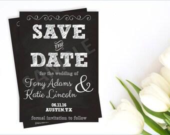 Chalkboard Save the Date Card, Chalkboard Save the Date Invitation, Save the Date Card, Save the Date Invite, Printable Save the Date