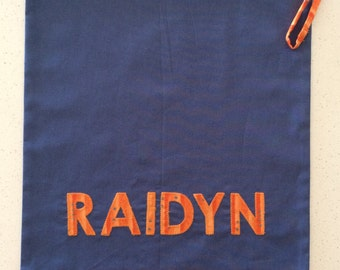 Personalised name bag - library, kindy, preschool, childcare, sleepovers, toys.
