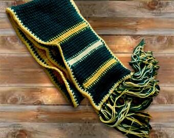Soft Stripe Crochet Scarf, 80 inch super scarf w fringe, Dark Teal Gold White Wrap, 9 inch wide warm neck wrap, Winter Scarf, Head wrap