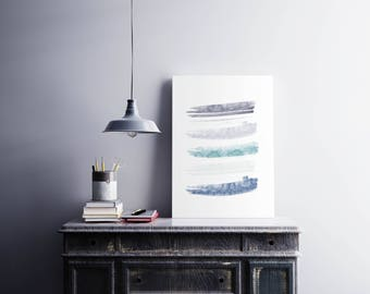 Watercolor brushstrokes print Violet teal blue Abstract wall art
