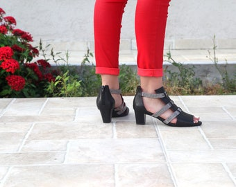 Mid Heel Chunky Pumps, Leather Triple Strap Sandals, Handmade Strap Shoes, Black Open Toe Shoes, Summer Peep Toe Sandals, Low Heels Shoes