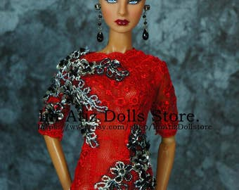 SALE!!! Evening Red Dress Gown for FR/FR2/Barbie/Silkstone.