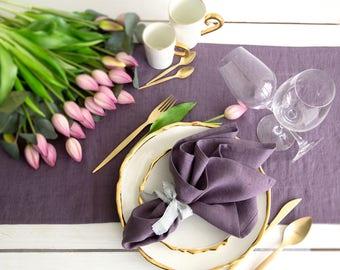 Lavender color Linen Napkins set of 6 - Dinner napkins