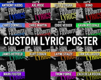 Custom Rock Poster, lyric poster, music art, typographic art, alternative rock