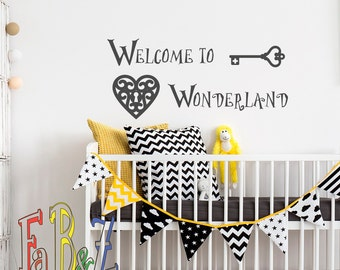 Welcome To Wonderland Wall Decal Alice In Wonderland Quotes Wall Decals  Murals Nursery Kids Bedroom