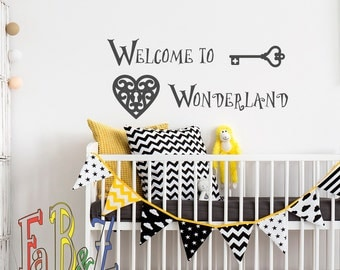 Marvelous Welcome To Wonderland Wall Decal Alice In Wonderland Quotes Wall Decals  Murals Nursery Kids Bedroom  Part 31