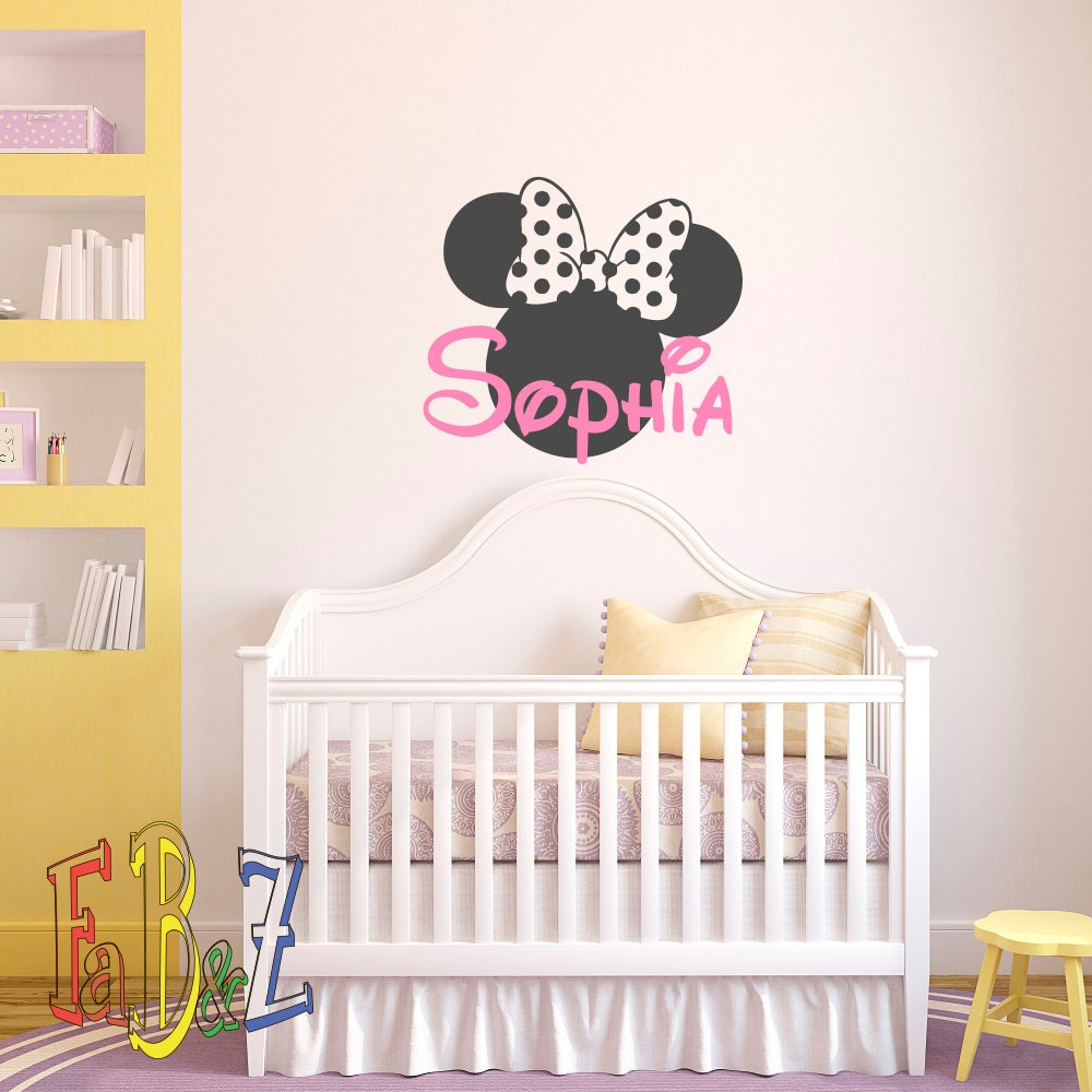 Personalized baby name wall decal minnie mouse custom decals for Stickers habitacion bebe