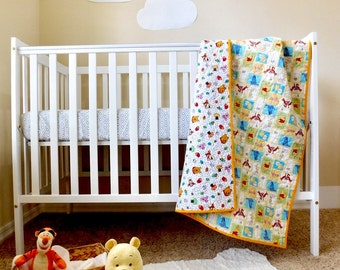 Winnie the Pooh Baby Quilt, Winnie the Pooh nursery, Winnie the Pooh crib quilt, Winnie the Pooh bedding, Winnie the Pooh quilt, reversible.