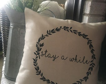 stay a while linen pillow cover
