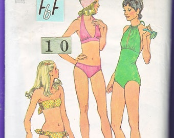 1970's Women's Halter Bikini Keyhole SwimSuit Sewing Pattern/ Simplicity 5694 Tied, Gathered bust Bathing Suit, Bandeau, UnCut/ Size 10