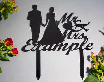 Wedding cake topper - couple cake topper - silhouette cake topper