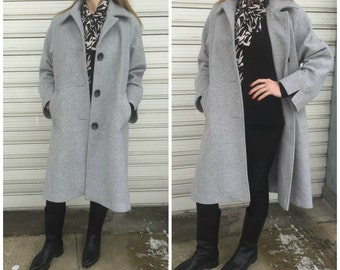 Women Wool Coat with Pockets / Grey Lined Cape Coat / Cashmere Grey Jacket / Long Sleeve Trench Coat / EXPRESS SHIPPING