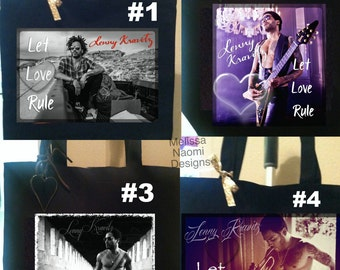 Lenny Kravitz Tote, Choose Between 4 Original Designs, Musician Lenny Kravitz Let Love Rule Cotton Tote, Love Music Rocker Tote Original Art
